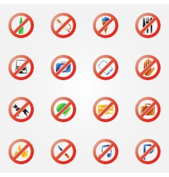 Restriction icons or symbols set vector