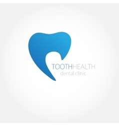 Dental clinic logo with blue tooth icon vector