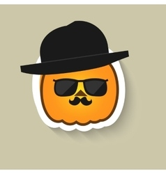 Pumpkin hipster in sunglasses and bowler hat vector