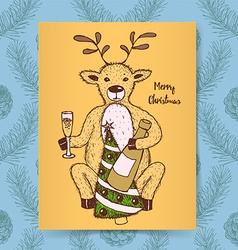 Sketch deer with champagne vector