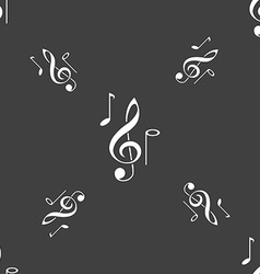 Musical notes icon sign seamless pattern on a gray vector