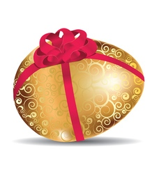 Golden egg with red bow3 vector