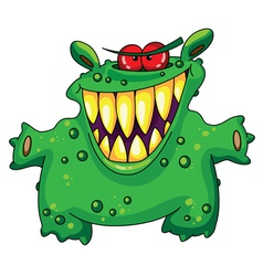 Laughing green monster vector
