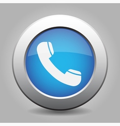 Blue metal button with telephone handset vector