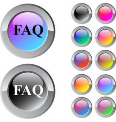 Faq multicolor round button vector