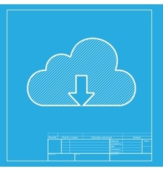 Cloud technology sign white section of icon on vector