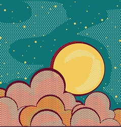 Moon and cloudsRetro nature sky background for vector image
