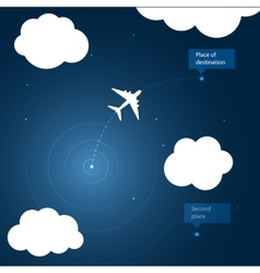Airplane routes to place of destination vector image
