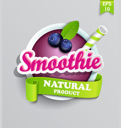 Blueberry smoothie sticer vector