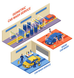 Car wash service isometric compositions vector