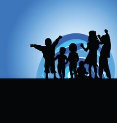 children on moonlight silhouette vector image vector image