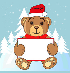 christmas card bear with a sign in the header vector image vector image