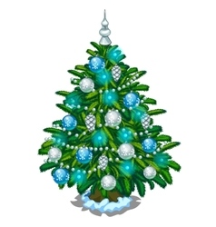 Christmas tree with blue and silver toys vector