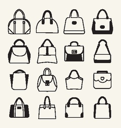 Collection of different fashion bags icon vector image vector image