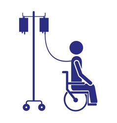 Color silhouette pictogram person hospitalized in vector