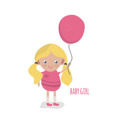 cute little baby girl with balloon vector image vector image