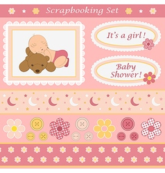 Digital scrapbooking set for baby girl vector image vector image