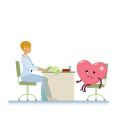 Doctor with diseased heart symbol cartoon - world vector
