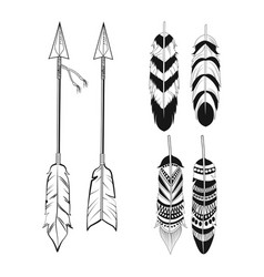 free spirit feathers and arrows ornament vector image vector image