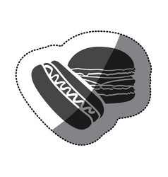 Grayscale hot dog and hamburger icon vector