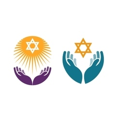 Hands holding star of david icon or symbol vector