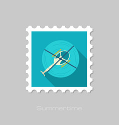 Helicopter stamp summer vacation vector