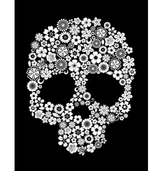 Human skull in floral style vector image
