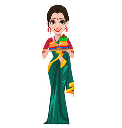 Indian girl holding two pots vector