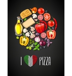 Ingredients for pizza vector image