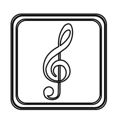 Monochrome contour of button of treble clef vector