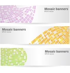 mosaic banners set vector image vector image