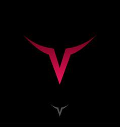 Red letter v monogram logo head vector