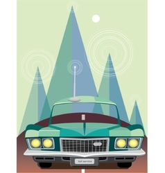 Retro car at mountains vector image vector image