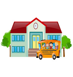school scene with students on bus vector image