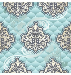 Seamless rococo floral in blue vector