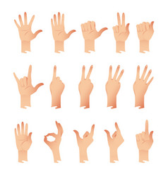 set of hands in different gestures emotions vector image vector image
