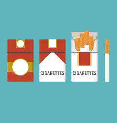 Set of vintage cigarettes and open cigarette pack vector