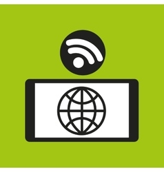 Smartphone globe internet wifi icon vector