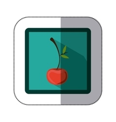 Sticker colorful square with cherry fruit vector