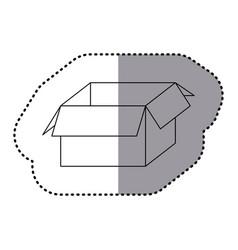 Sticker silhouette carton box icon vector