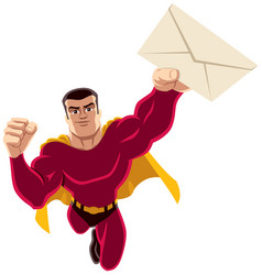 superhero flying envelope vector image vector image