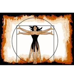 The vitruvian woman vector