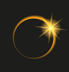 Total eclipse of the sun in dark sky vector