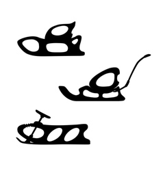 Winter sled set of three sleds vector