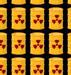Yellow barrels of radioactive substance seamless vector