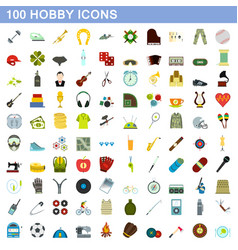 100 hobby icons set flat style vector