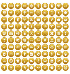100 mens team icons set gold vector image vector image
