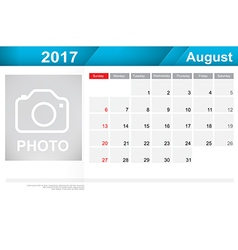 Year 2017 august month simple and clear design vector