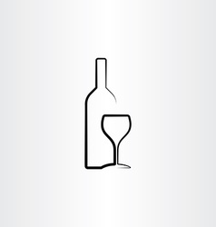 Wine glass and bottle stylized vector