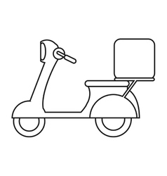 Motorcycle scooter delivery food outline vector